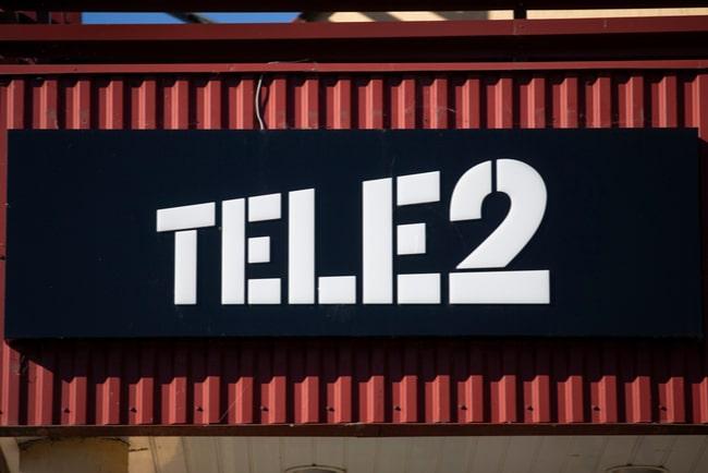 skylt med tele2:s logotyp