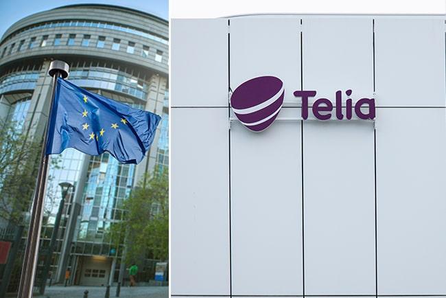 Kollage med EU:s flagga och Telias logga