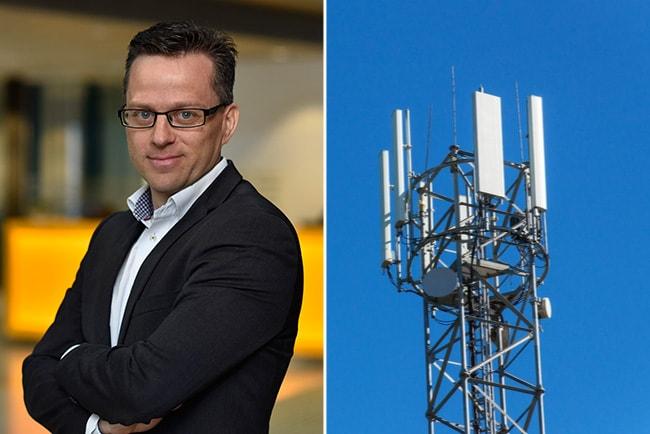 per stigenberg, CTO på Tre, och en 5G-mast mot blå himmel