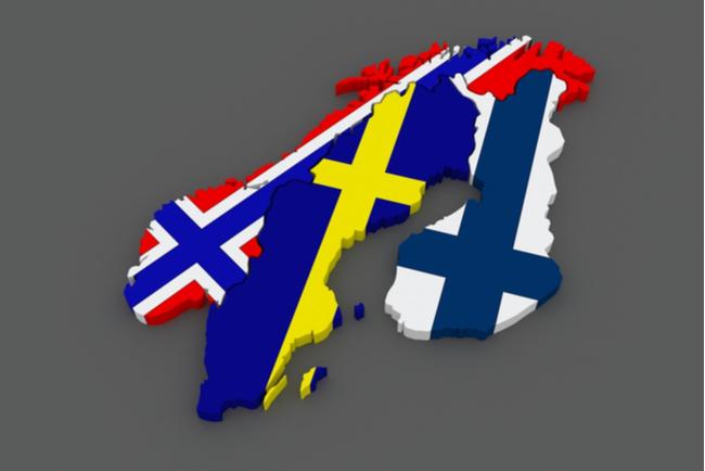 3d-karta av norge, sverige och finland i sina respektive flaggfärger