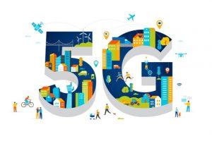 illustration 5g och människor i smart stad