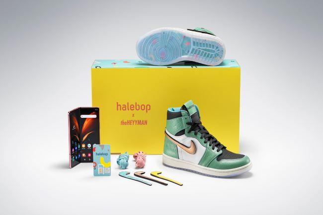 samlarbox med sneakers, samsung-telefon och mobilabonnemang