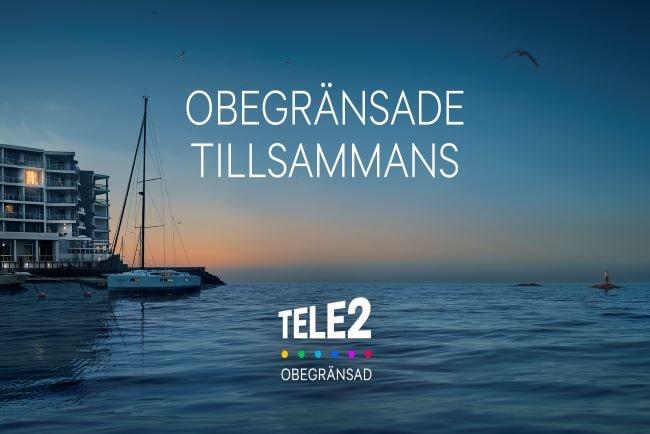 tele2:s nya logotyp med hav i bakgrunden