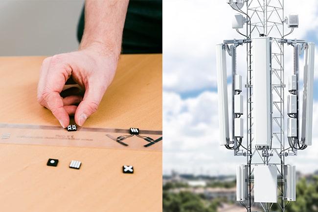 hand placerar små antenner på plastremsa, och närbild på vanlig mobilmast