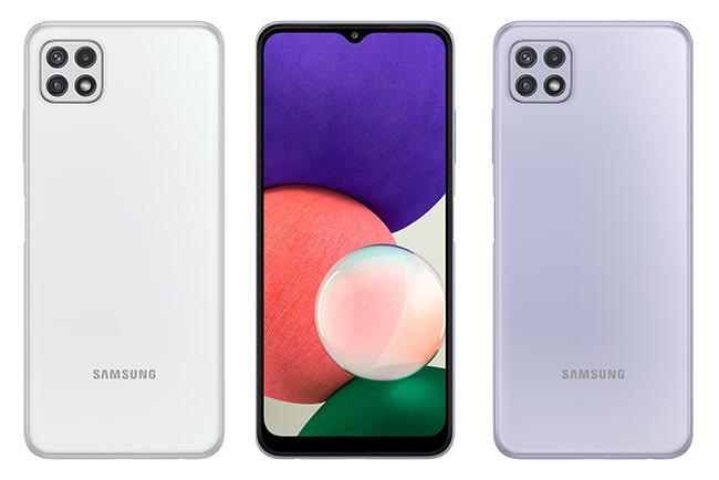 Tre samsung galaxy a22 5g-mobiler i olika färger.