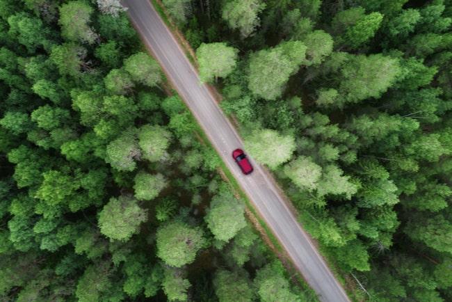 Röd bil på enslig bilväg mellan skogsområden.