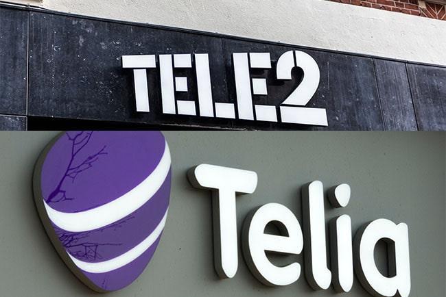 Tele2 och Telias loggor
