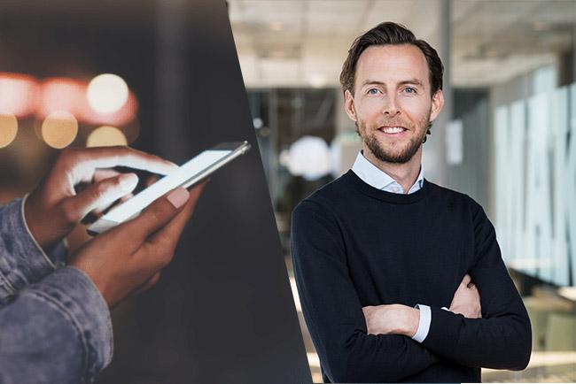 Comviq underlättar för kunderna med surfboost och swish-betalning. Comviqs vd Oscar Karlsson. Foto. Oscar Karlsson/Pressbild Comviq