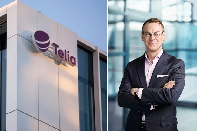 Kollage med Telias logga och Christian Luiga